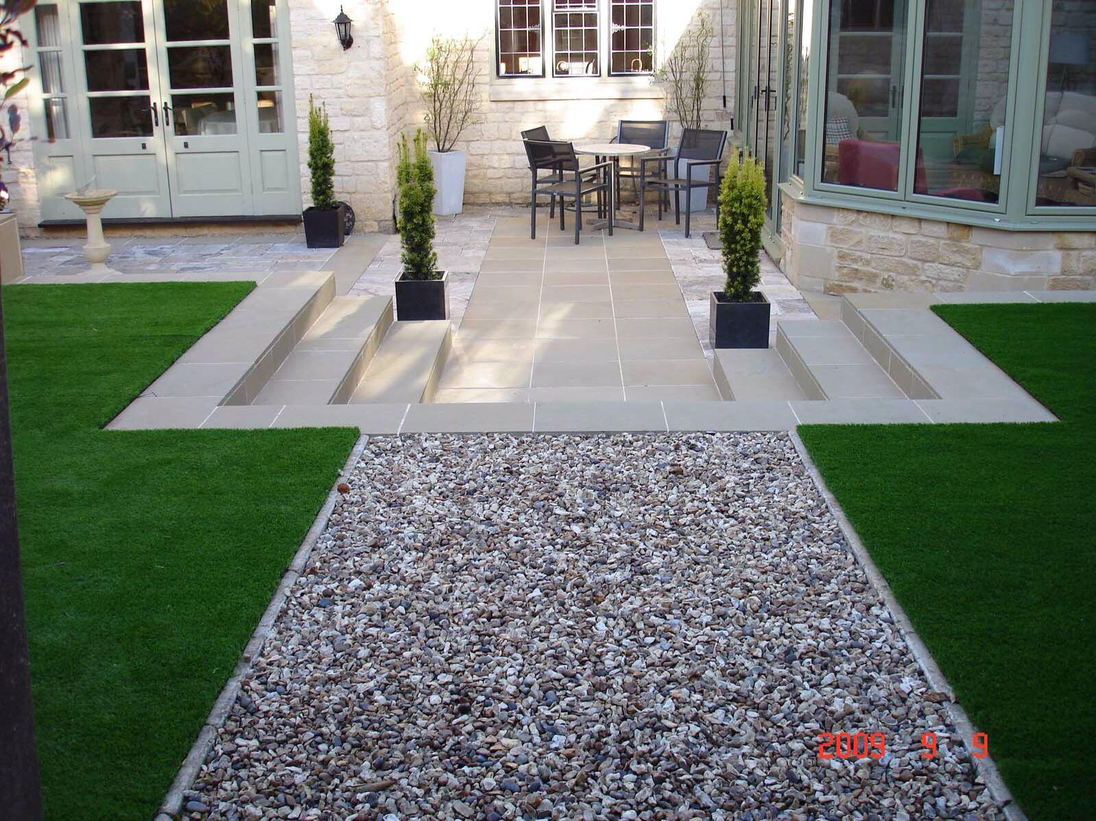 artificial lawn pea gravel steps