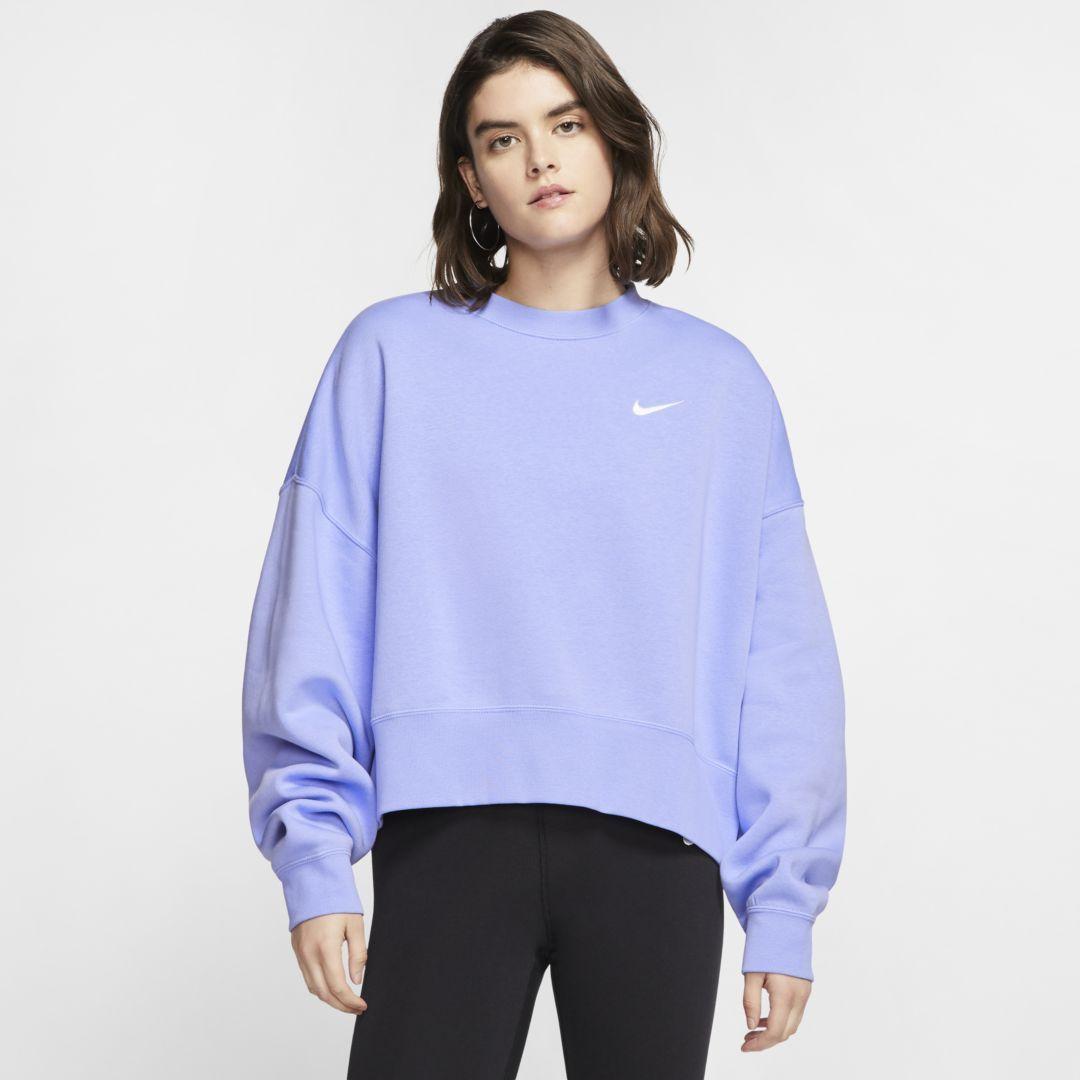 Nike Sportswear Essentials Women S Fleece Crew Light Thistle Nike Hoodies For Women Nike Women Sweatshirt Crewneck Sweatshirt Women [ 1080 x 1080 Pixel ]