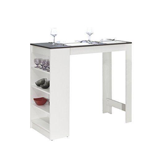 Symbiosis 8080a2198x00 Contemporain Table Bar Avec Rangements Blanc Mat Beton 115 X 50 X 102 7 Cm Cet Article Symbiosis 8080a2198 Table Bar Furniture