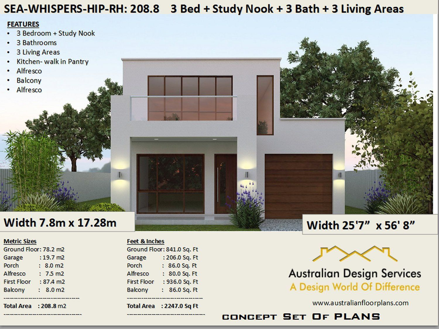 Duplex-Townhouse house design |Modern 2 story home 208 m2 | 2247 sq.