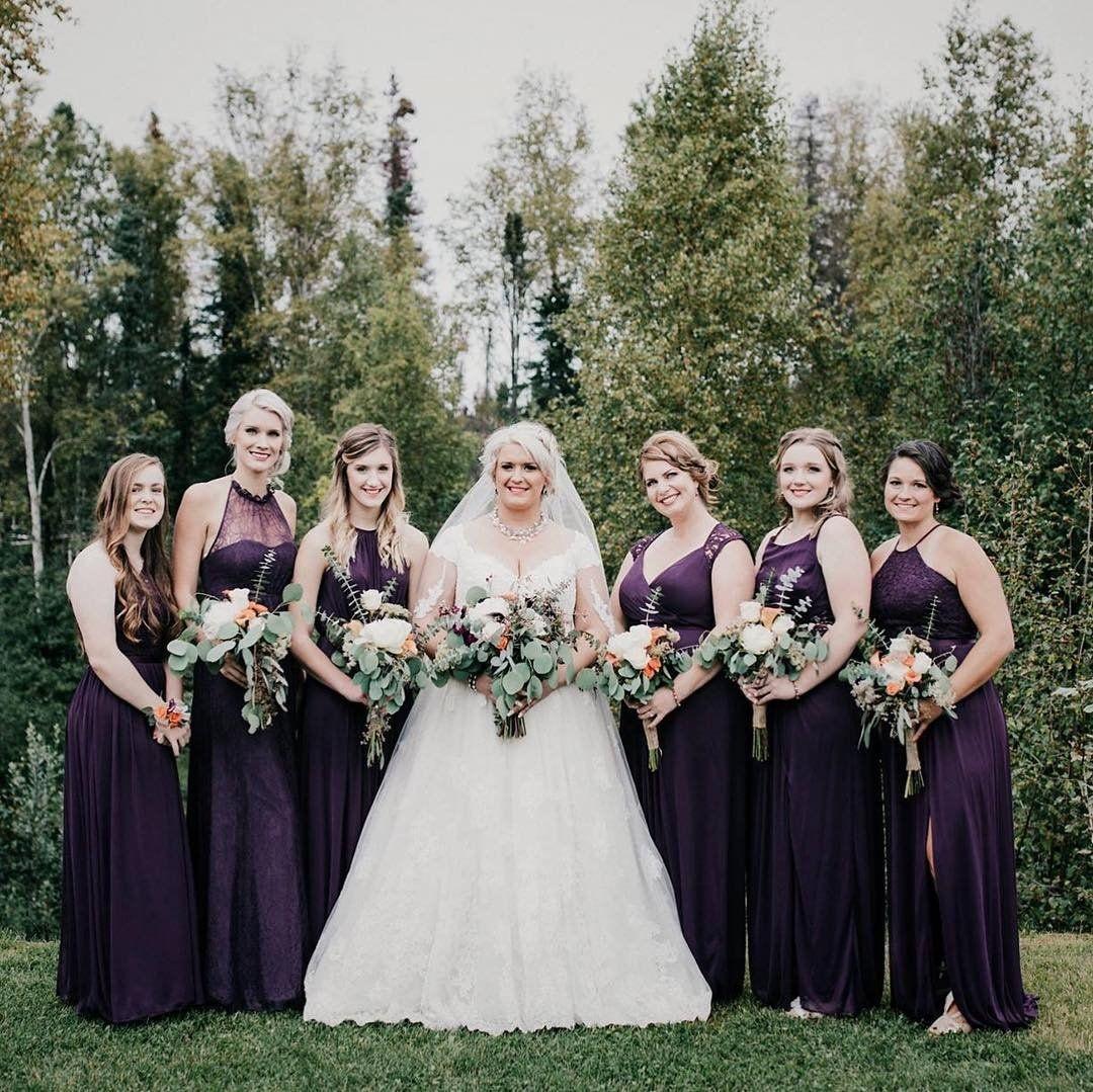 David S Bridal Bridesmaids In Plum Purple Lace Bridesmaid Dresses Shop Styles Fit Fo Lace Bridesmaid Dresses Purple Lace Bridesmaid Dresses Bridesmaid Dresses