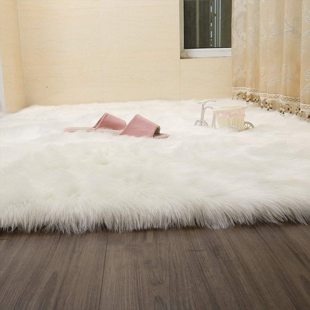 Free 2 Day Shipping Buy Wendana Faux Fur Rug White Soft Fluffy Rug Shaggy Rugs Faux Sheepskin Rugs Floor Ca Kids Room Rug Faux Sheepskin Rug Faux Fur Area Rug