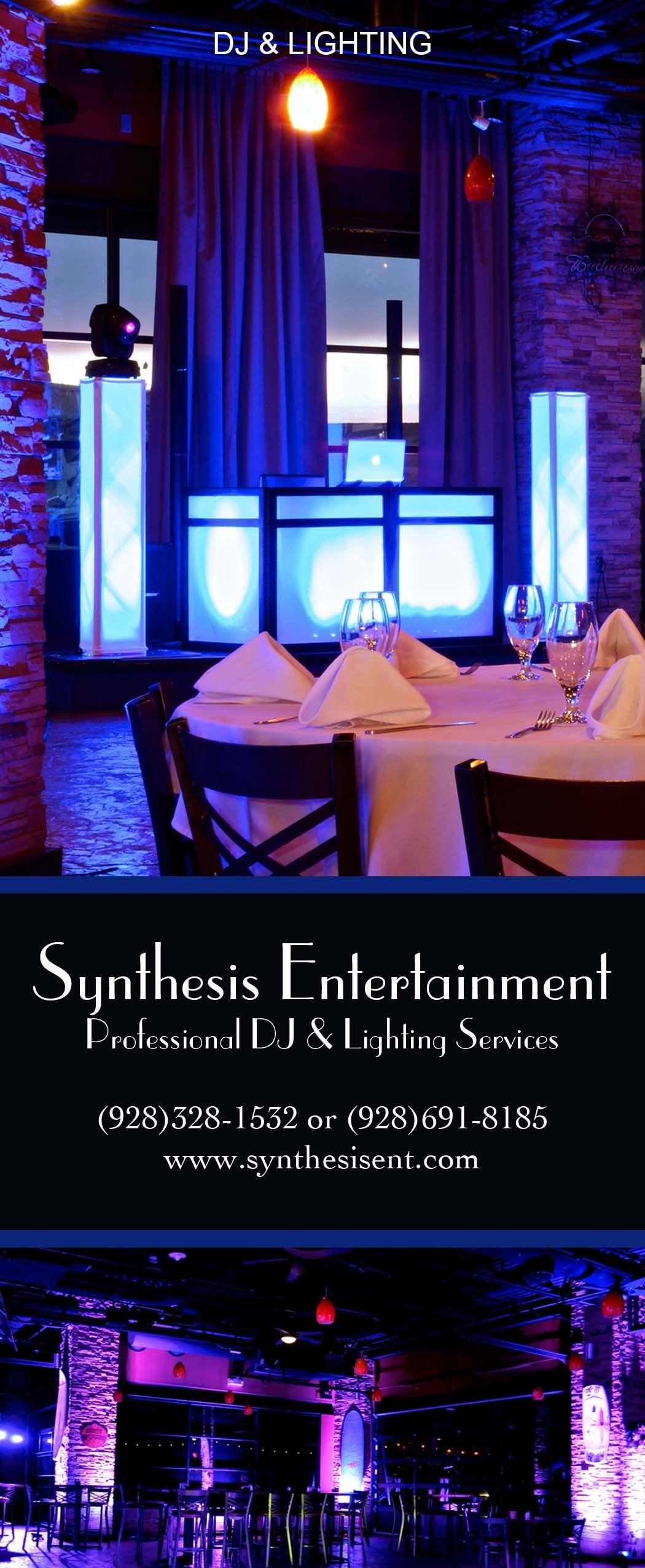 Dj Uplighting Flagstaff Weddings Synthesis Entertainment Brochure Www Synthesisent Com Www Flagstaffweddingstudio Dj Lighting Wedding Dj Entertaining