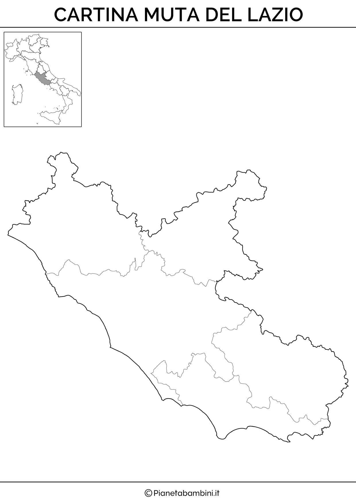 Cartina Geografica Fisica Lazio.Cartina Muta Fisica E Politica Del Lazio Da Stampare