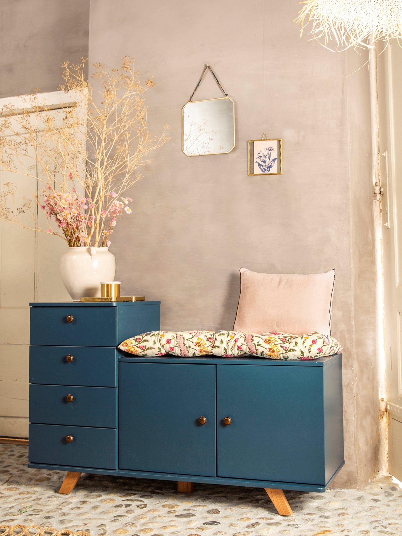 joli petite commode bleu style vintage en bois avec petites poignées ronde déco ins…   Mobilier ...
