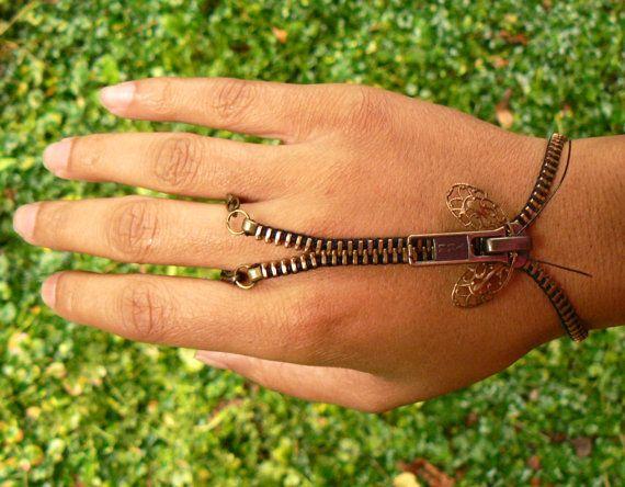 Steampunk Bracelet -  Zipper Bracelet - Zip-On Bracelet - Handflower Bracelet on Etsy, £11.98