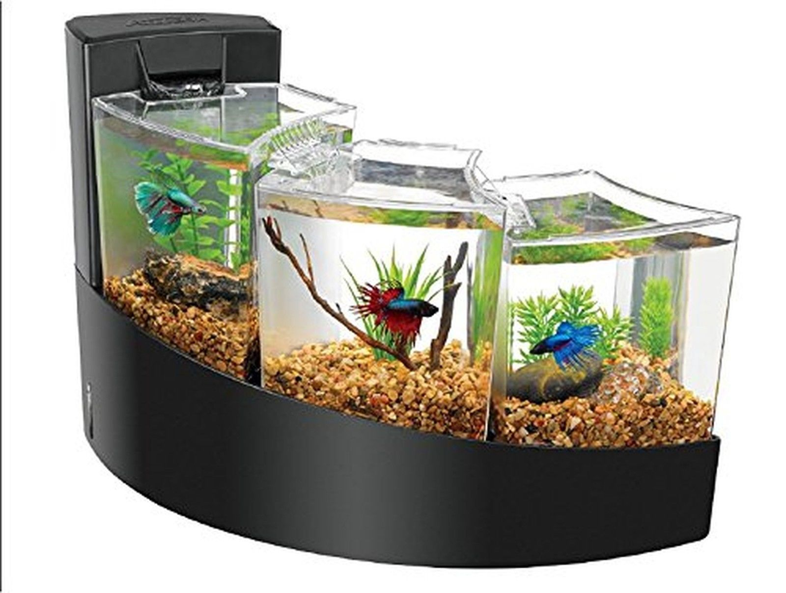 aqueon kit betta water falls mini aquarium fish tank black. Black Bedroom Furniture Sets. Home Design Ideas