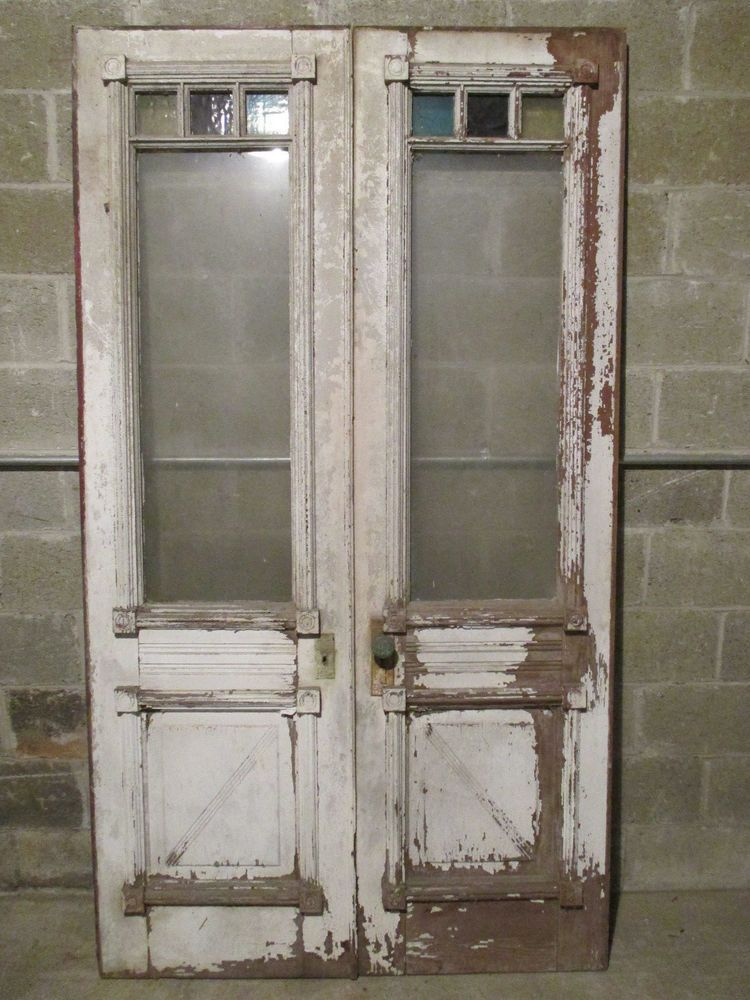 Antique Double Entrance French Doors With Stained Glass 48 X 85 Salvage Antique French Doors Antiques Repurposed Doors