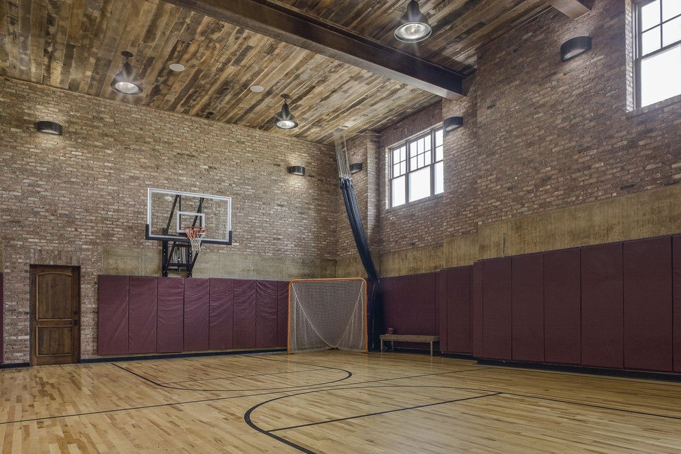Dazzling indoor basketball hoop in home gym farmhouse with for Basketball court at home