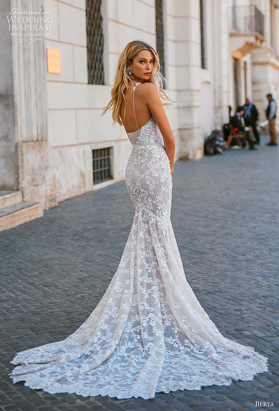 Weddinginspirasi Com Featuring Berta 2020 Privee Bridal Sleeveless Spaghetti Strap Sweethe Lace Mermaid Wedding Dress Lace Bridal Gown Backless Wedding Dress [ 1326 x 900 Pixel ]