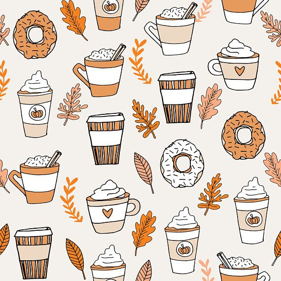 Coffee Fabric - Pumpkin Spice Latte Fabric Coffee And Donuts Fall Autumn By Andrea Lauren - Girly Cotton Fabric by the Yard with Spoonflower