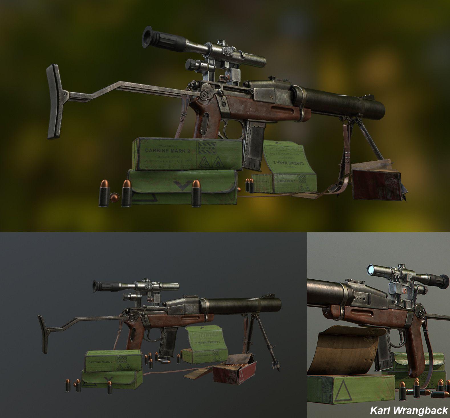 ArtStation - De-Lisle Commando Carbine Mark 2  45acp, Karl