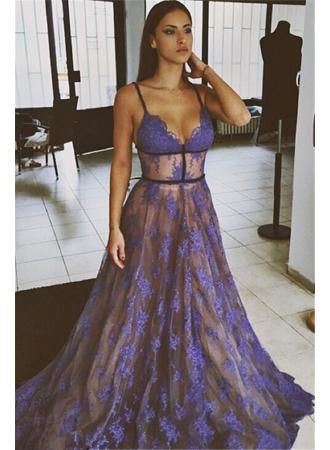 2017 Purple Lace Prom Dresses Spaghettis Straps Nude Lining Long Sexy Evening  Gowns by promdress2017