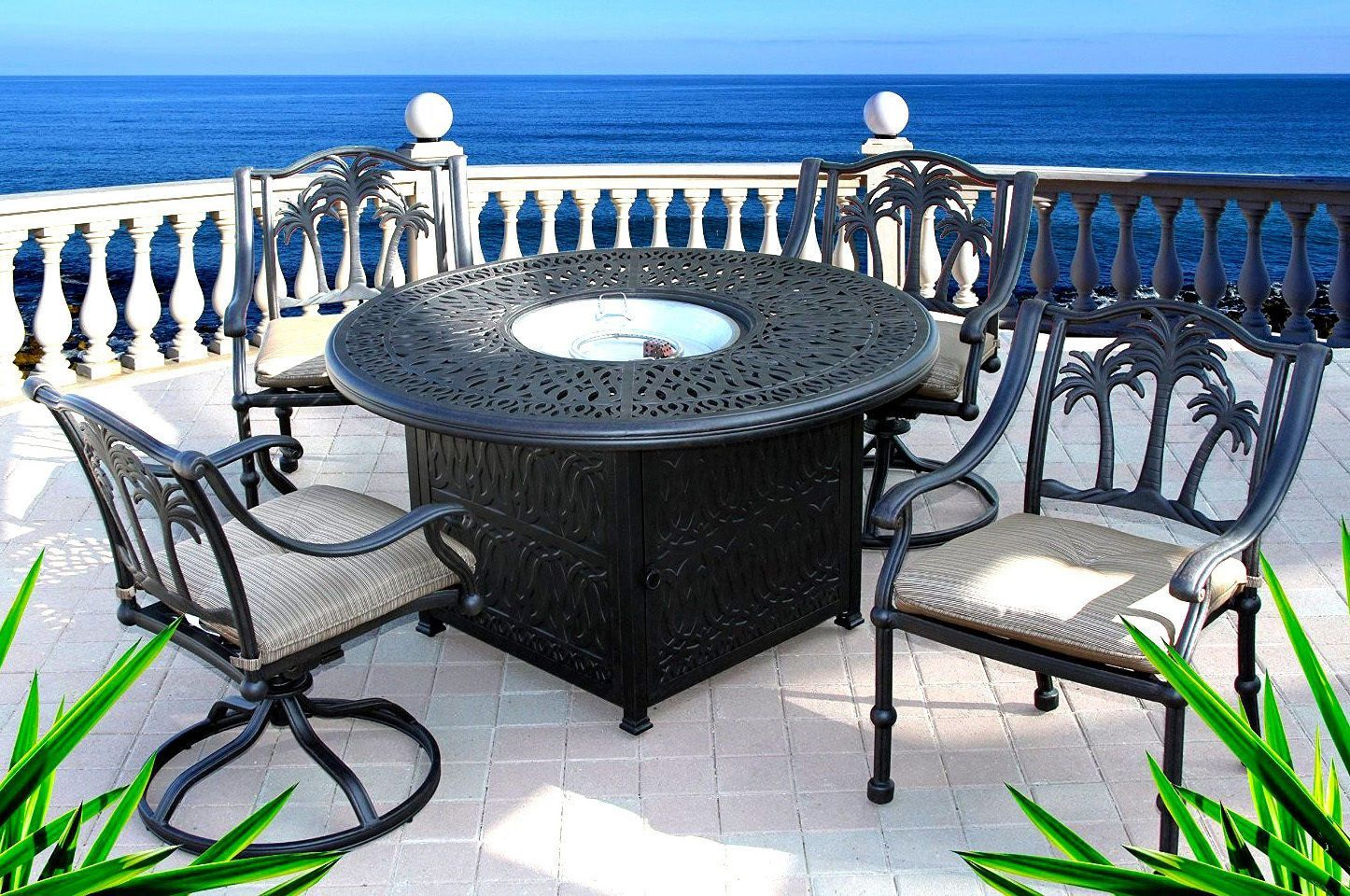 5pc Outdoor Dining Chat Set Patio Propane Fire Pit Table Chair Set