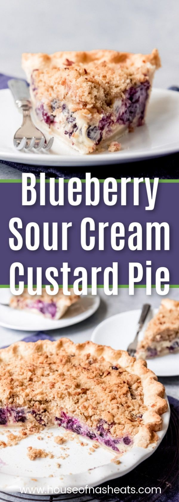 Blueberry Custard Pie Juicy fresh blueberries, creamy sour cream custard, buttery streusel crumble topping with chopped pecans, all in a flaky crust - this Blueberry Sour Cream Custard Pie won the