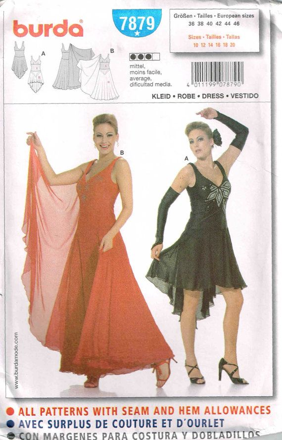 381c9e193 Sewing Pattern Burda 7879 Latin Salsa Tango Dancing Dress Plus Size 10 12  14 16 18 20 Halloween Costume Dancer