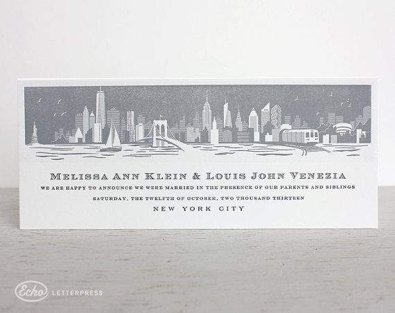 The Perfect Invitation For A New York City Wedding Skyline