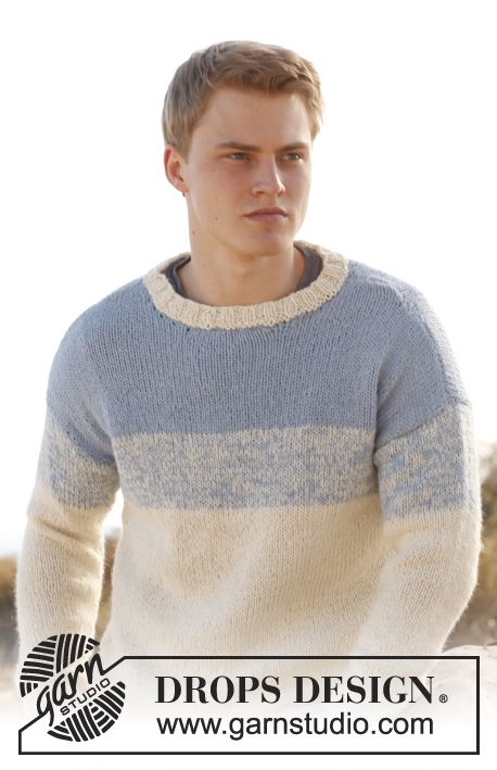 Knitted Drops Mens Jumper In 2 Strands Alpaca Drops Design To