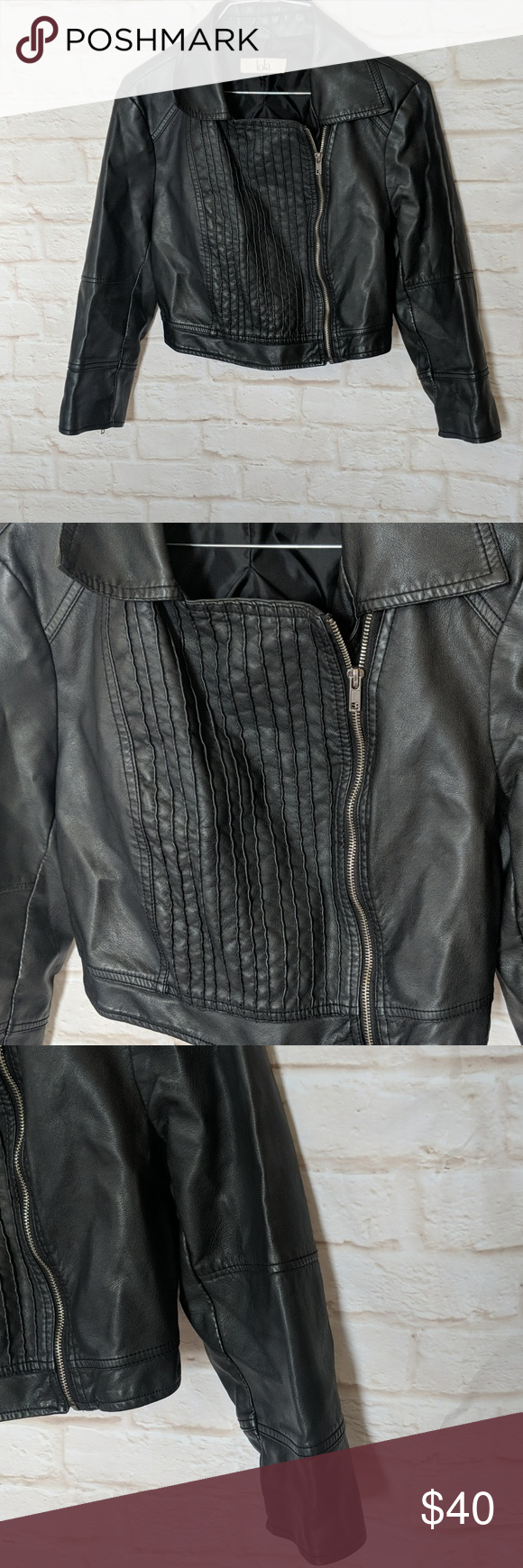 Cropped faux leather jacket large Cropped faux leather
