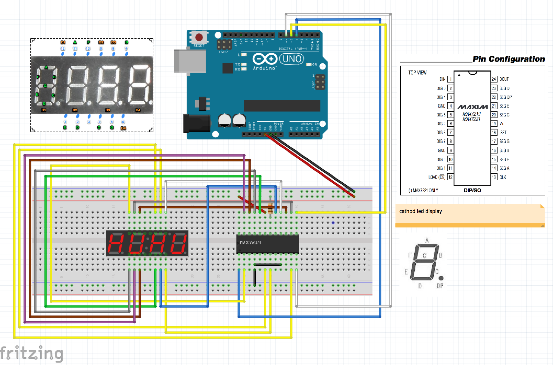 Arduino Max 7219 Cng Basic Circuit Led 7 Segment Displays Logic Diagram One 72xx Can Control Maximum Of 64 Leds Technology Articles