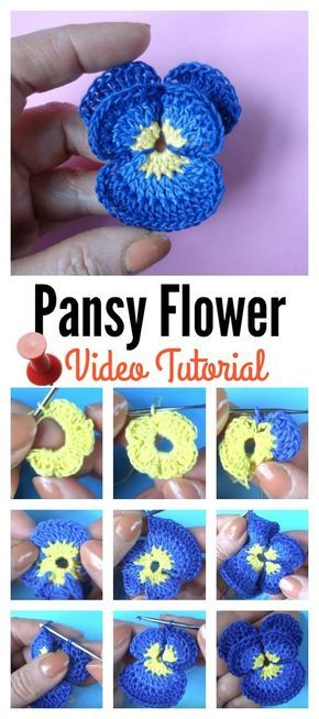 Pansy Flower Free Crochet Pattern #crochetflowers