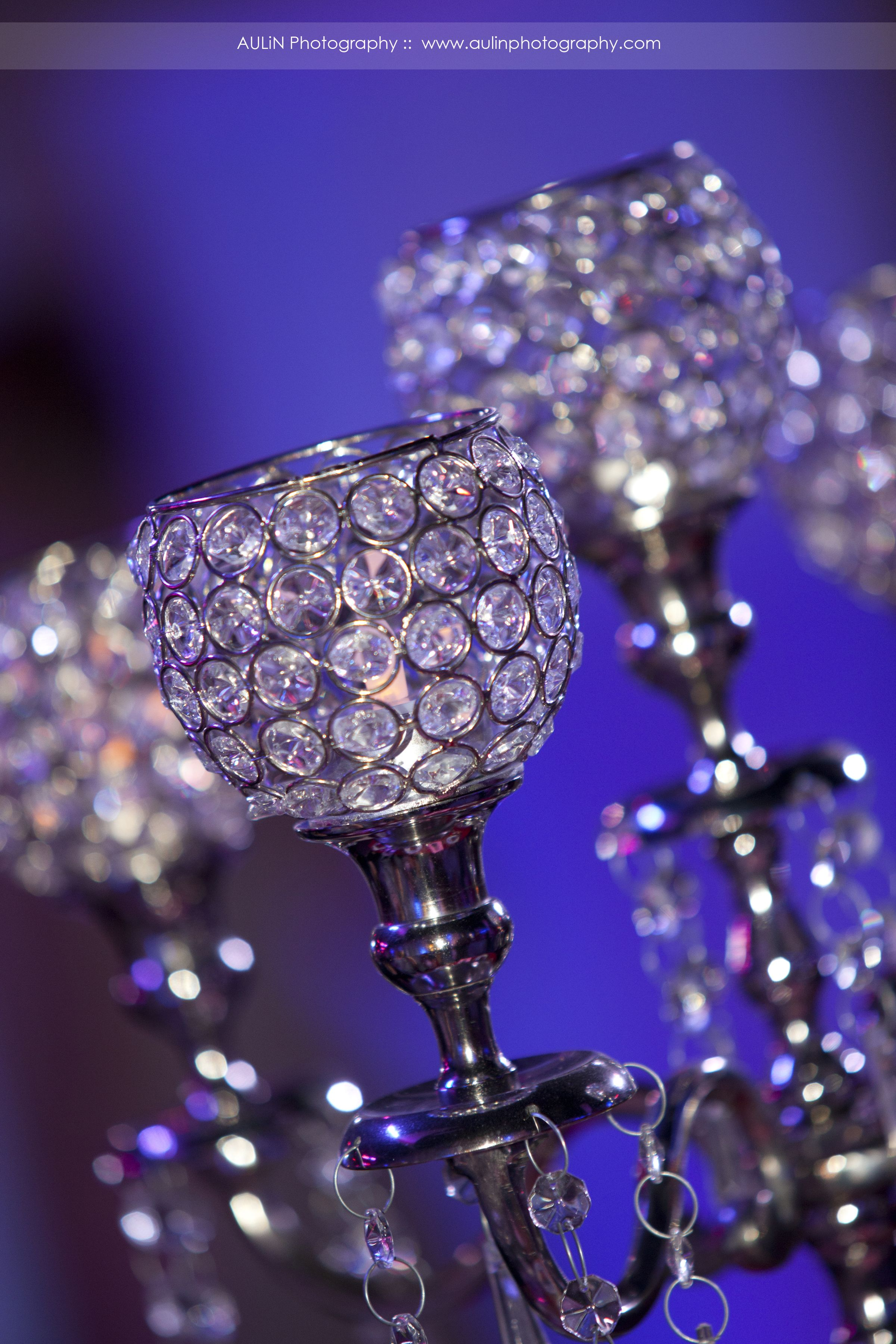 close up of our silver 5 arm crystal bling candelabras have 2 sizes
