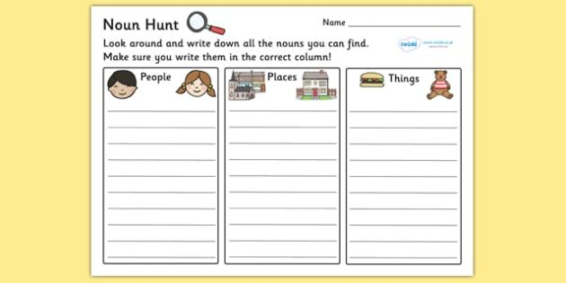 Noun Hunt Worksheet - worksheets, worksheet, work sheet, non ...