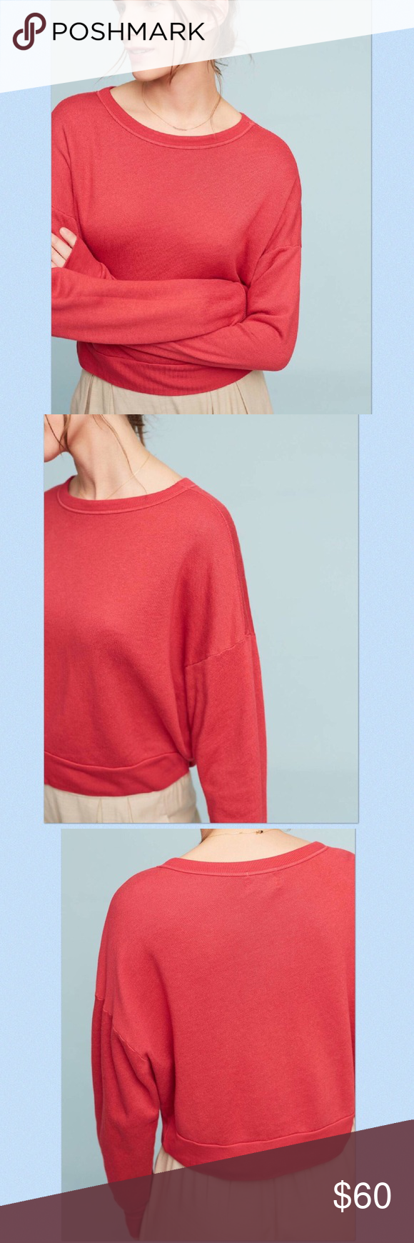 """NWT Anthropologie Studio Sweatshirt Supersoft sweatshirt by T.La for Anthropologie in Red.  Cotton, rayon, spandex; contrast stitching.  Pullover styling.  Approx 22"""" length.  Available in other colors! Anthropologie Tops Sweatshirts & Hoodies"""