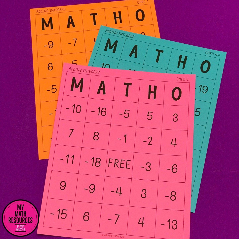 Adding Integers Matho Bingo Game