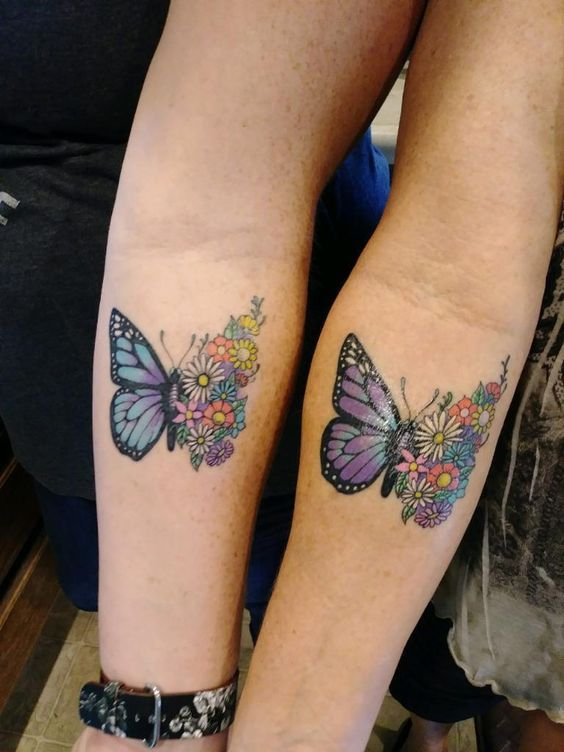 Butterfly Mother Daughter Tattoo Design - Mother... - Crayon