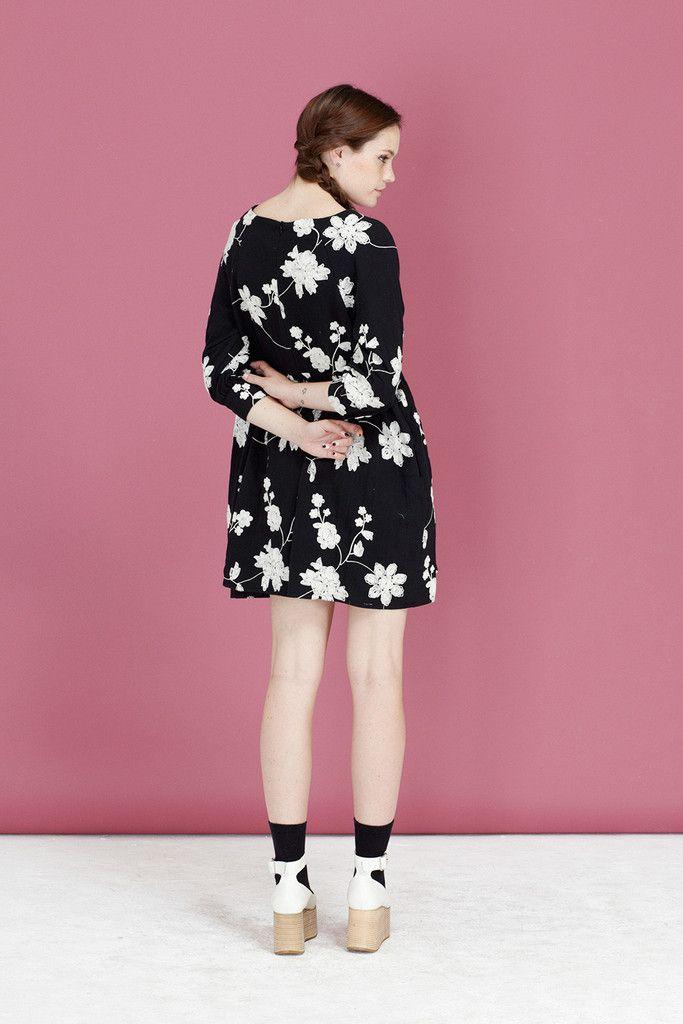 Embroidered Button-Cuff Angel Dress Black