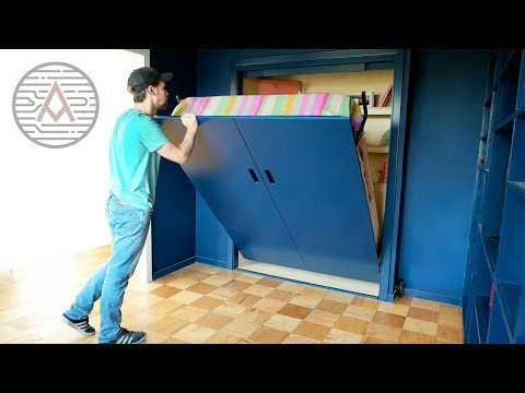 Converting A Closet Into A Murphy Bed Diy Woodworking Youtube En 2020 Lit