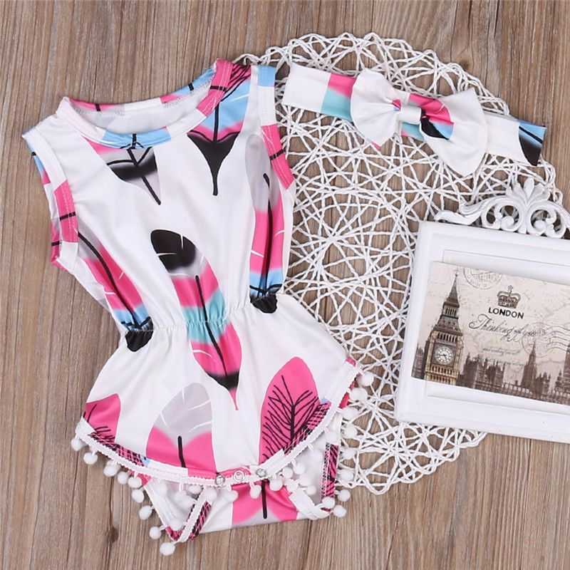31ead4ba7e51 Cute Infant Baby Girls Lace Floral Romper Jumpsuit Bodysuit Headband Outfits  Set