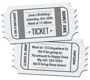Movie Ticket Template Free Download Movie Ticket Birthday Invitations Printable Free Download  Birthday .
