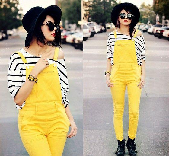 Kendall C. - Sunglasses, Striped Shirt, Yellow Overalls, Hot Topic Jake Watch