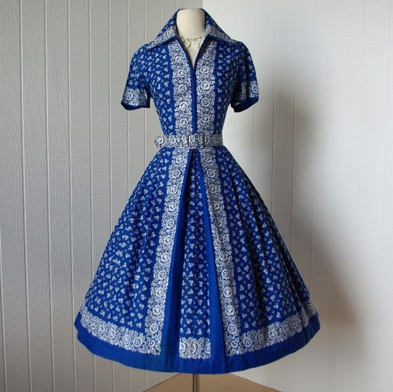 vintage 1960s dress  ...blue novelty print MIXE MODES rockabilly swing pin-up full skirt shirtwaist dress #saridress fantastic use of a border print on this shirtwaist dress #saridress