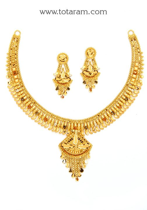 22K Gold Necklace Earrings Set GS2797 Indian Jewelry Designs