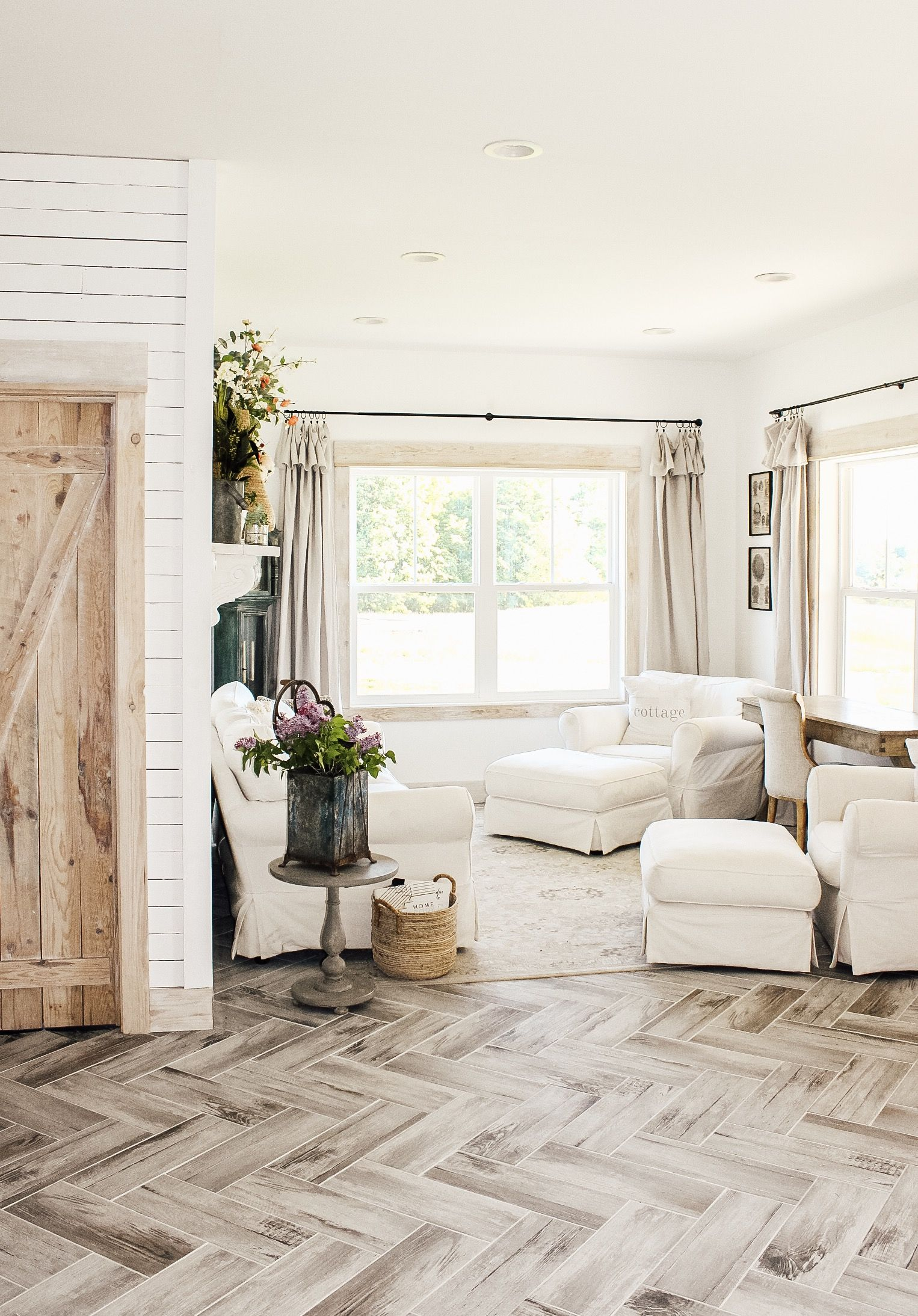 Herringbone Tile #homedepot #homedecor #cottagestyle #barndoor #farmhousestyle