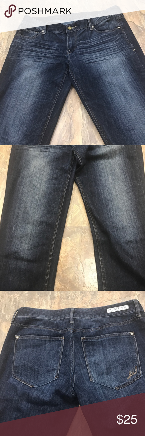 Express dark wash skinny Stella denim jeans Gently preowned with normal wear. No holes or stains. Whiskered dark wash front. Cotton polyester spandex blend denim. Lay flat waist dimension is 17 1/2 inches. Rise is 8 inches. inseam is 32 inches. Express Jeans Skinny
