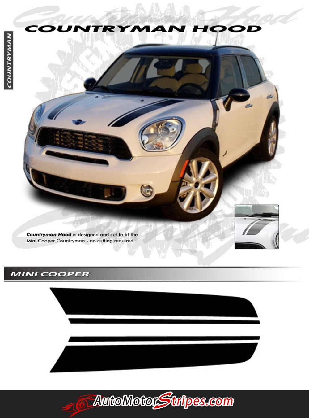 2010 2016 Mini Cooper Countryman Hood Racing Stripes Vinyl Graphics