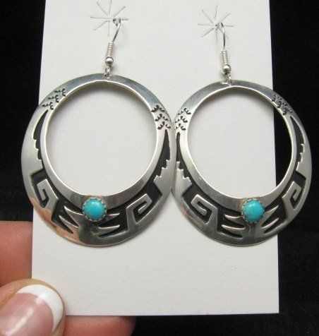 Big Navajo Turquoise Sterling Silver Earrings Tommy