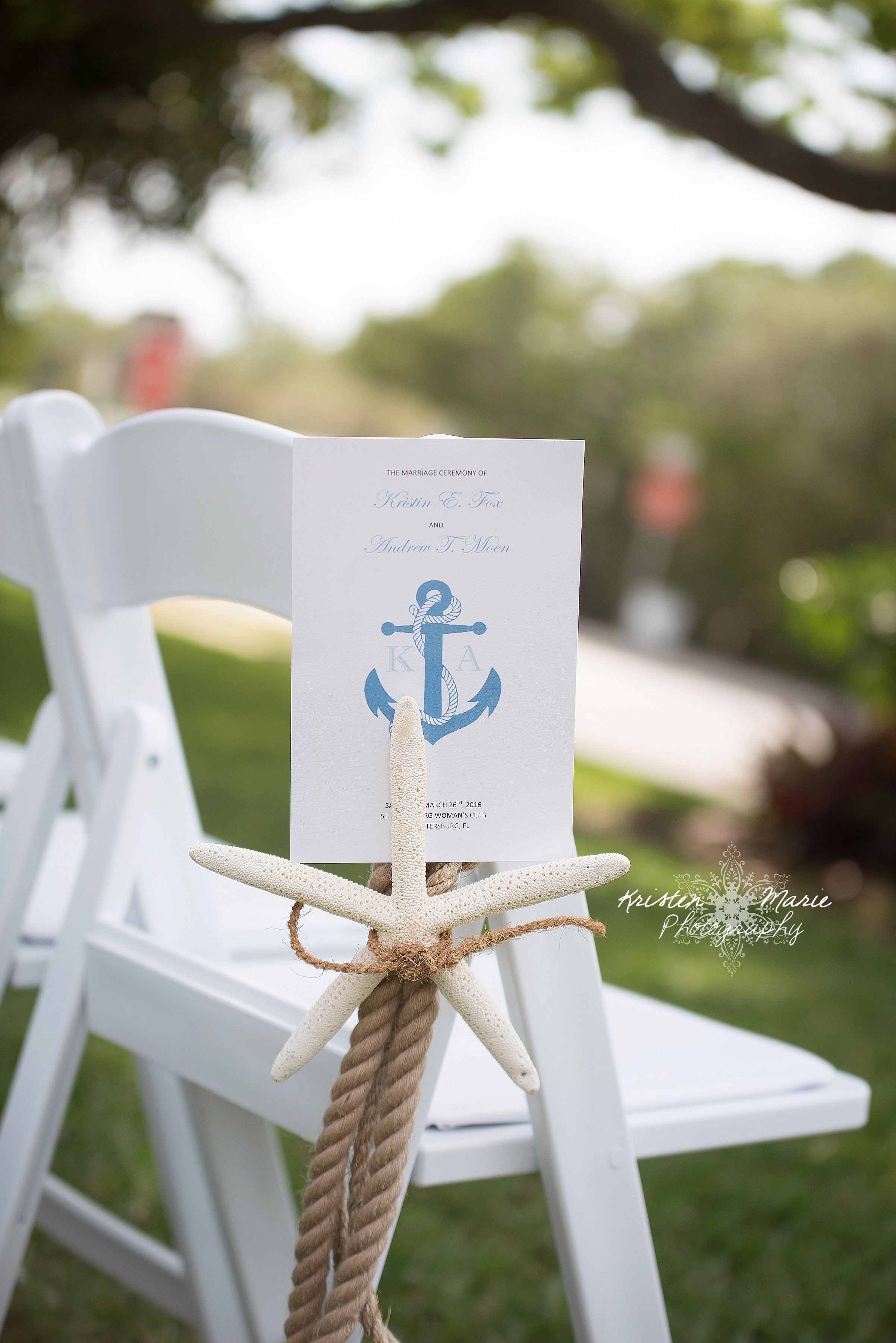 Nautical Themed Wedding #aisle decor #ceremony details #starfish and ...