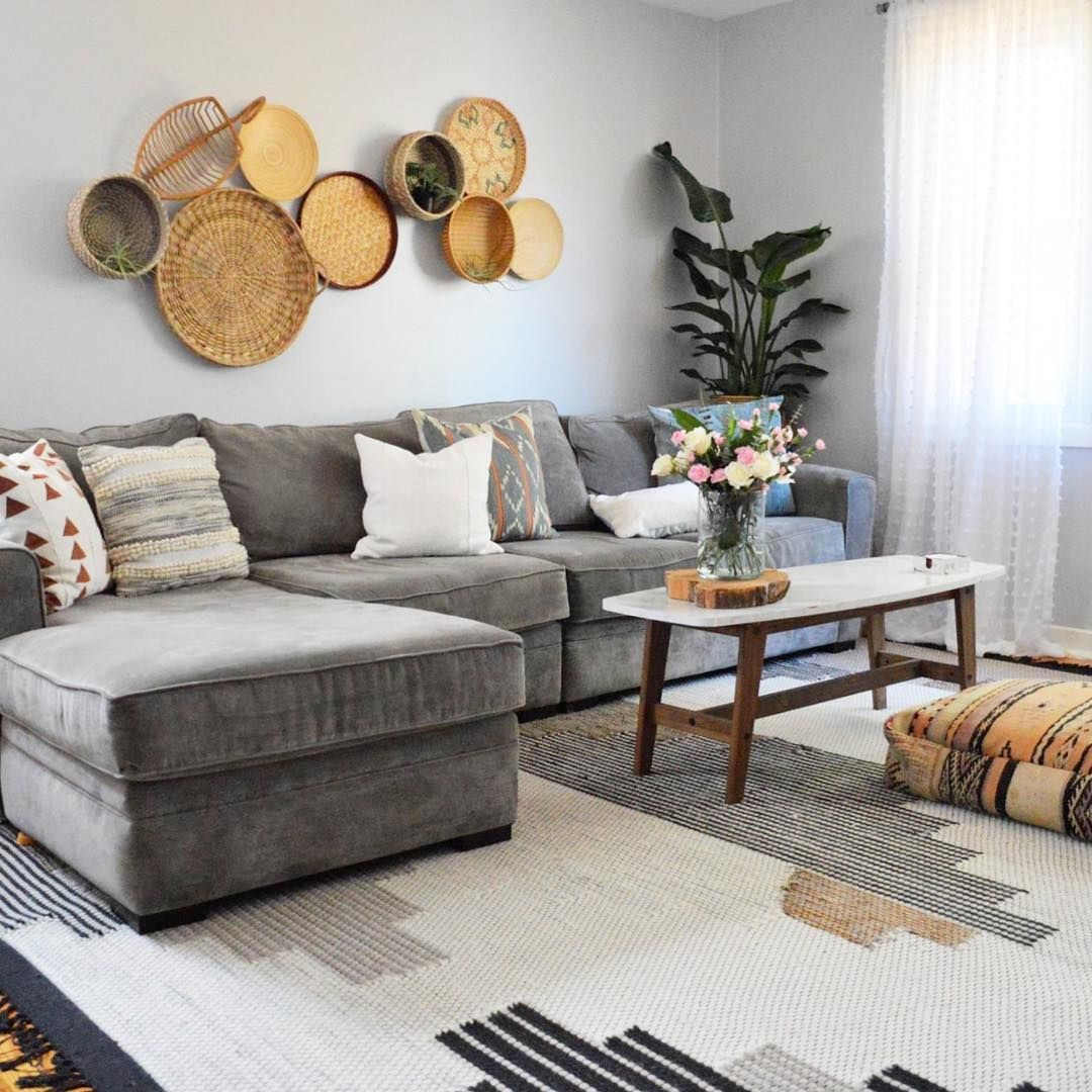 on instagram boho living room grey