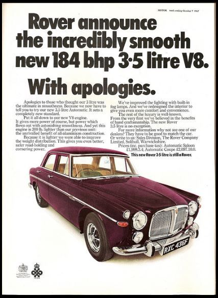 Vintage Rover 3.5 litre V8 Car Advert | Ad-Auto | Pinterest ...
