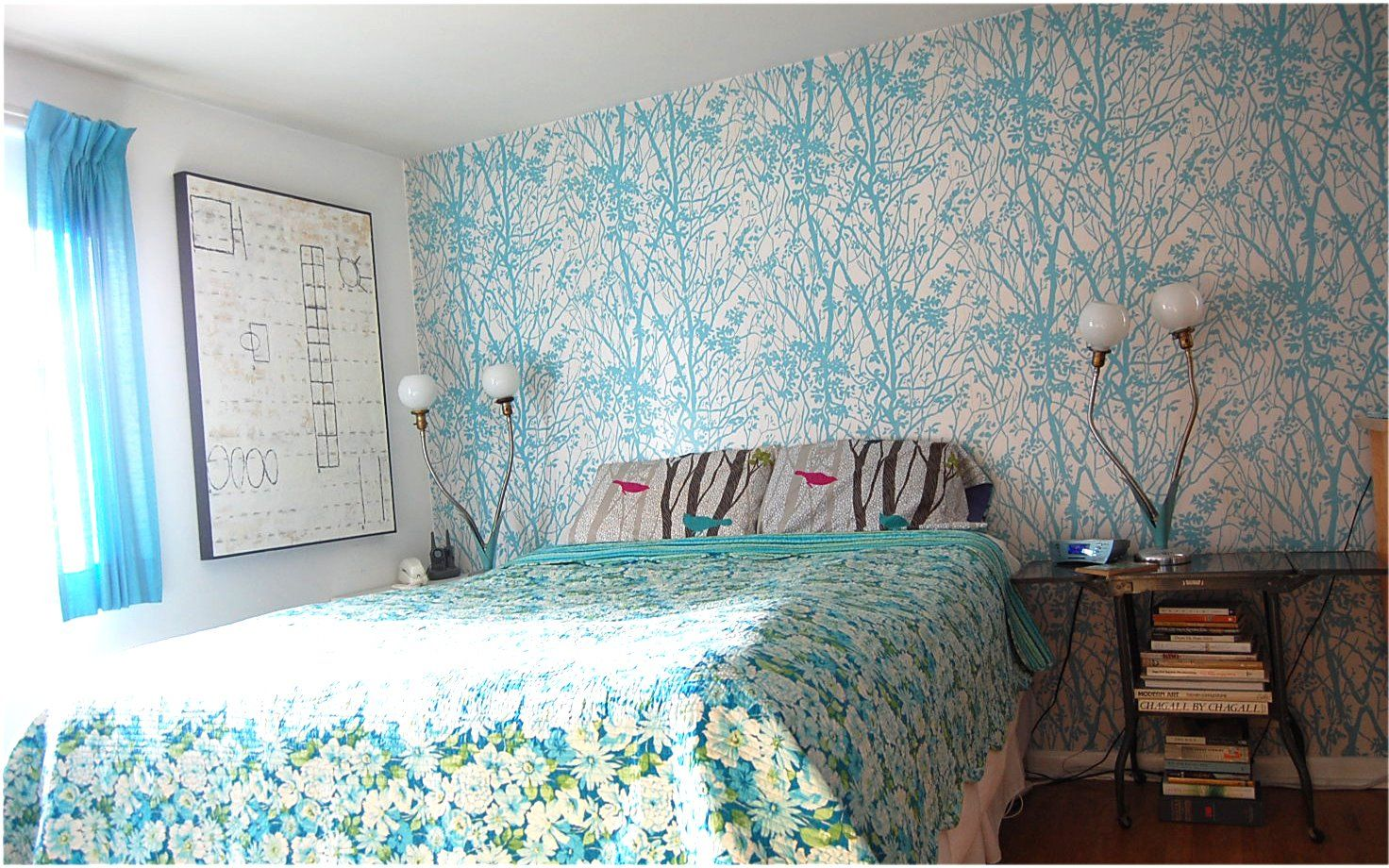 Our Bedroom before we took the wall paper down. And, yes, I do miss it.