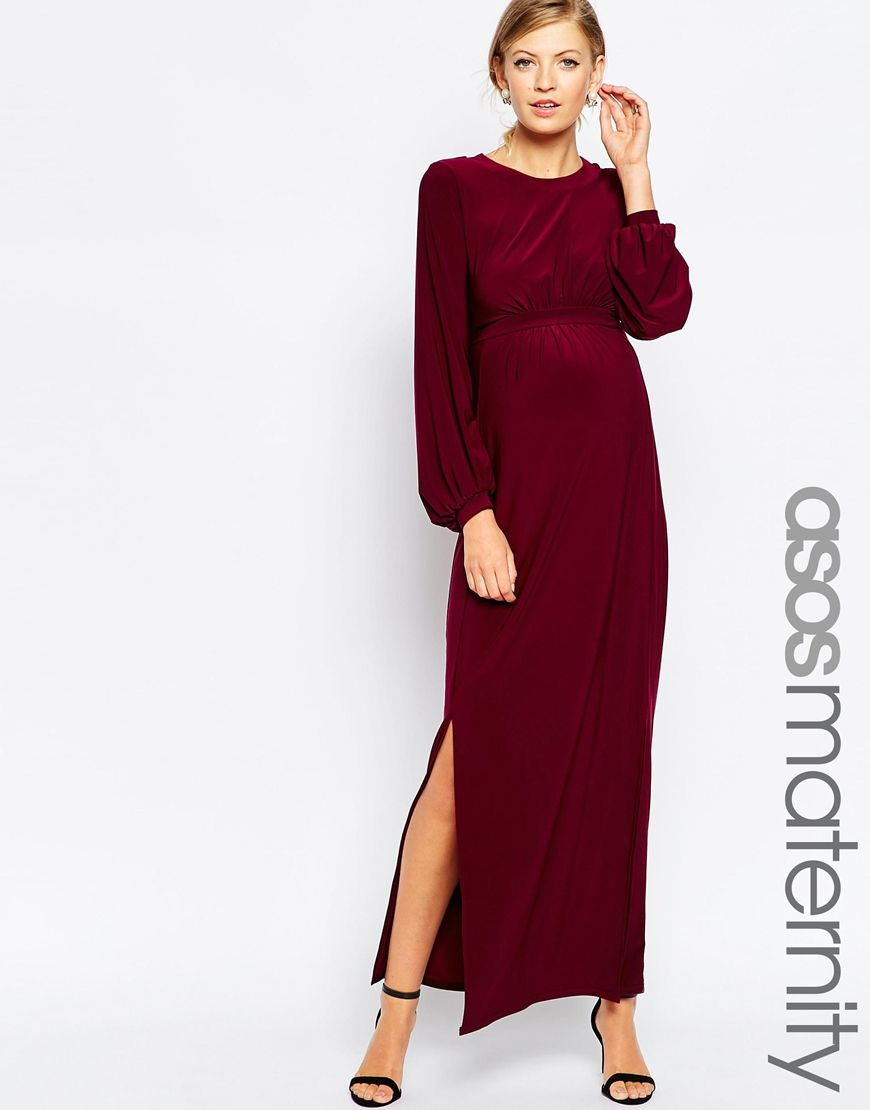 Image 1 of asos maternity drape maxi dress with blouson sleeves discover the latest maternity dresses at asos shop for maternity maxi dresses pregnancy dresses and special occasion maternity dresses online with asos ombrellifo Images