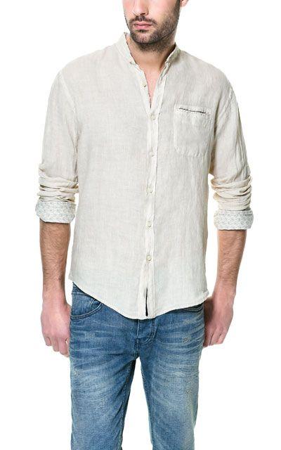 CAMISA LINO CUELLO MAO Casual Camisas Hombre ZARA