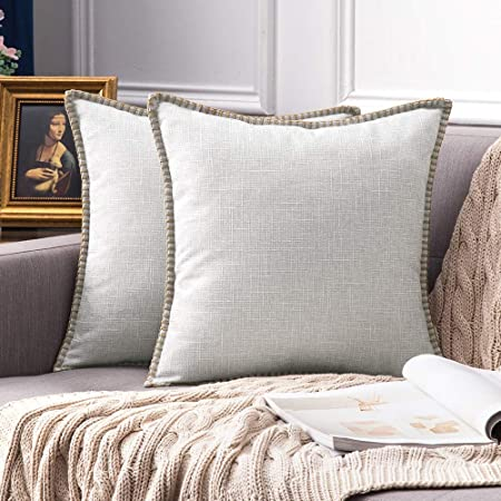 Pack Burlap Linen Throw Pillow Cover