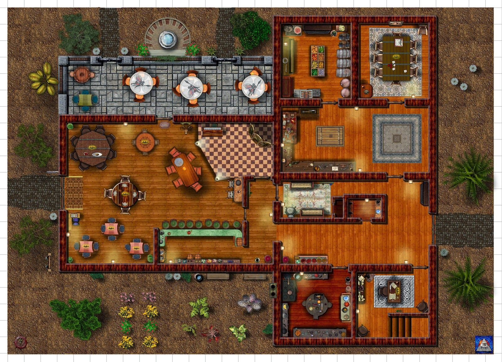Wounded Warriors Tavern 1st Floor Dd Fantasy Map