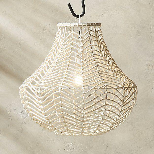 White Rattan Pendant Light